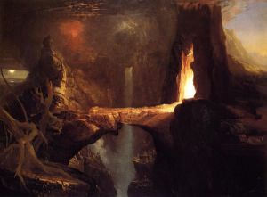 Expulsion-Moon and Firelight - Thomas Cole Oil Painting