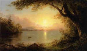 Lake Scene - Frederic Edwin Church Oil Painting