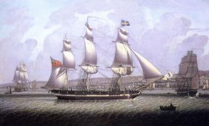 A Frigate of the Baltic Fleet off Greenock - Robert Salmon Oil Painting