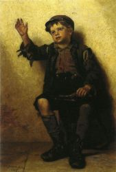 Shoeshine Boy III - John George Brown Oil Painting