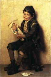 Paddy's Valentine - John George Brown Oil Painting
