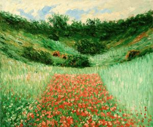 Poppy Field in a Valley Near Giverny - Claude Monet Oil Painting