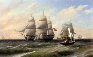 Ships at Sea - Thomas Birch Oil Painting