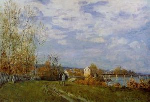 Banks of the Seine at Bougival - Alfred Sisley Oil Painting