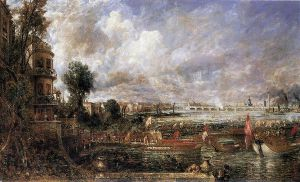 The Opening of Waterloo Bridge seen from Whitehall Stairs, June 18th 1817 - John Constable Oil Painting