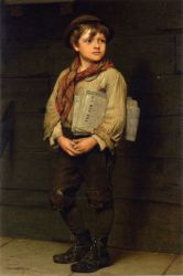 News Boy - John George Brown Oil Painting