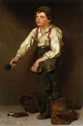 Shoe Shine Boy - John George Brown Oil Painting