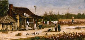 Cabin Scene with Birdhouse, Chickens and Cotton Picker Carrying Basket of Cotton - William Aiken Walker Oil Painting