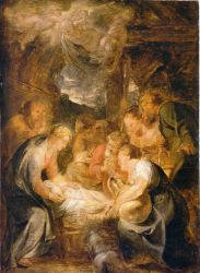 Adoration of the Shepherds II - Peter Paul Rubens Oil Painting