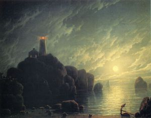 Moonlight and Lighthouse - Oil Painting Reproduction On Canvas