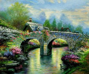 Blossom Bridge - Oil Painting Reproduction On Canvas
