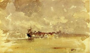 Gold and Grey: the Sunny Shower-Dordrecht - James Abbott McNeill Whistler Oil Painting