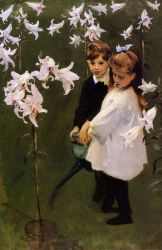 Garden Study of the Vickers Children - John Singer Sargent Oil Painting