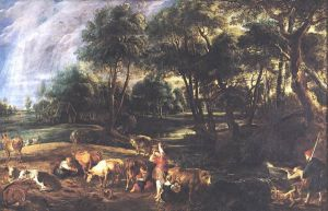 Landscape with Cows and Wildfowlers - Peter Paul Rubens Oil Painting