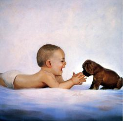 Puppy Time - Donald Zolan Oil Painting