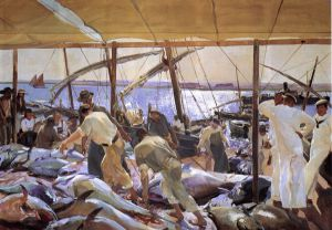 The Tunny Catch - Joaquin Sorolla y Bastida Oil Painting