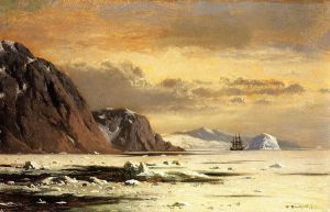 Seascape with Icebergs - William Bradford Oil Painting