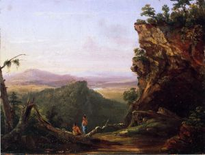 Indians Viewing Landscape - Thomas Cole Oil Painting
