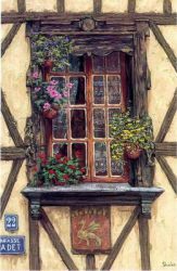 A Window and Some Flowers - Oil Painting Reproduction On Canvas