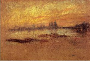Red and Gold: Salute, Sunset - James Abbott McNeill Whistler Oil Painting