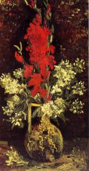 Vase with Gladioli and Carnations - Vincent Van Gogh Oil Painting