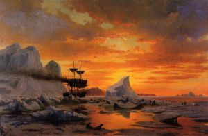 Ice Dwellers, Watching the Invaders - William Bradford Oil Painting