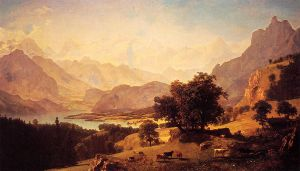 Bernese Alps, as Seen near Kusmach - Albert Bierstadt Oil Painting