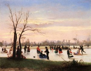 Ice Skating at Twilight - Conrad Wise Chapman Oil Painting