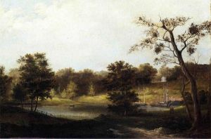 A Genteel Landscape - Thomas Birch Oil Painting