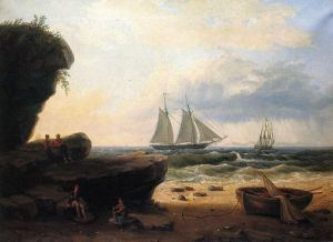 Sailing along the Shore - Thomas Birch Oil Painting