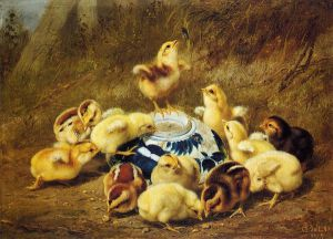 Chicks and Delft Bowl - Arthur Fitzwilliam Tait Oil Painting