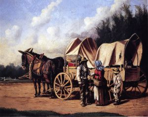 Covered Wagon with Negro Family - William Aiken Walker Oil Painting