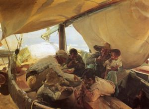 Meal on the Boat - Joaquin Sorolla y Bastida Oil Painting
