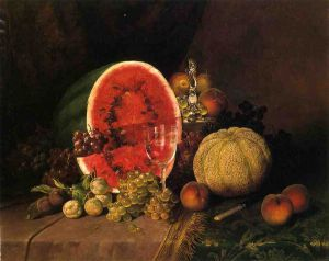 Still Life with Watermelon, Grapes, Peaches, Plums and Cantaloupe - William Mason Brown Oil Painting