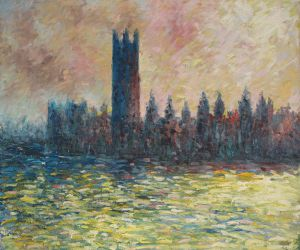 London. Houses of Parliament (Sun Breaking through the Fog) - Oil Painting Reproduction On Canvas
