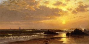 Seascape with Sunset - Alfred Thompson Bricher Oil Painting
