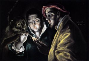 An Allegory with a Boy Lighting a Candle in the Company of an Ape and a Fool (Fabula) II -El Greco Oil Painting