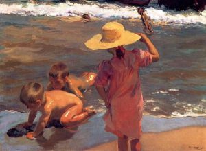 The Young Amphibians -   Joaquin Sorolla y Bastida Oil Painting