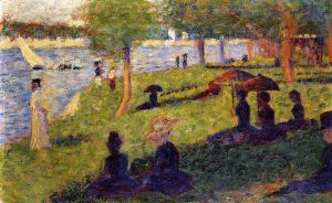 Woman Fishing and Seated Figures -   Georges Seurat Oil Painting