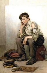 Shoe Shine Boy II - John George Brown Oil Painting