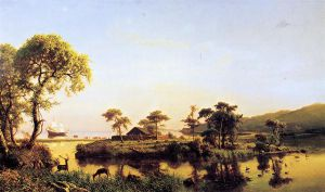 Gosnold at Cuttyhunk, 1602 - Albert Bierstadt Oil Painting