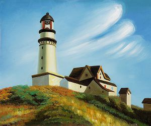 Lighthouse at Two Lights - Edward Hopper Oil Painting