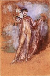 Grey and Pink, a Draped Model with Fan - James Abbott McNeill Whistler Oil Painting