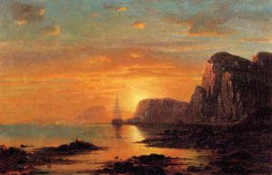 Seascape: Cliffs at Sunset - William Bradford Oil Painting