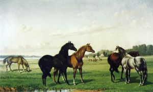 Horses in a Pasture - William Aiken Walker Oil Painting