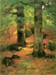 Vernon Beeches - Theodore Clement Steele Oil Painting