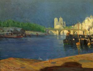 View of the Seine Looking toward Notre Dame - Henry Ossawa Tanner Oil Painting