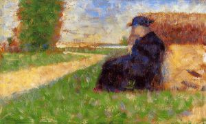 Large Figure in a Landscape - Georges Seurat Oil Painting