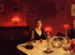 A Dinner Table at Night - John Singer Sargent Oil Painting