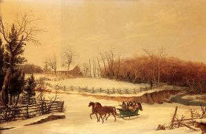 Sleigh Ride - Thomas Birch Oil Painting